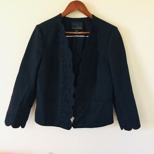 Banana Republic Black Scalloped Hem Blazer Jacket
